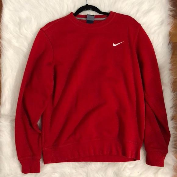 Red Nike Crewneck Sweatshirt   Poshmark